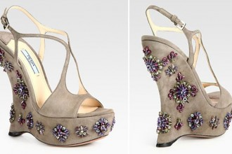 Prada jewelled wedge suede sandals