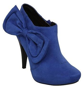 blue ankle boots with bow