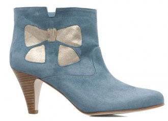 blue bow ankle boots