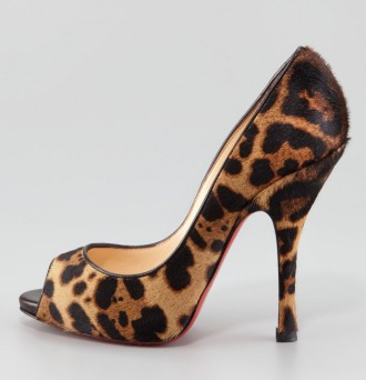 Christian Louboutin Maryl Leopard-Print Calf Hair Peep-Toe Pump