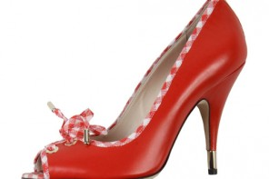 D&G red peep toes with gingham trim