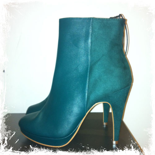 H&M green faux suede ankle boots