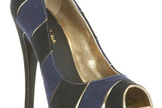 Miss Selfridge navy peep toe heels