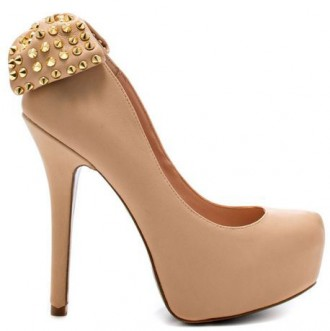 Betsey Johnson 'Nickie' nude platform bow pumps