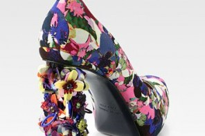 Nicholas Kirkwood for Erdem Millian Floral-Print Satin & Paillette Heel Pumps