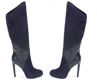 Versus by Versace high heeled blue suede knee boots