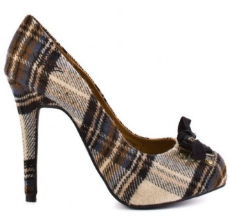 high heel tartan bow shoes