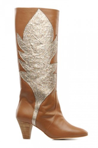 Tan leaf-print boots by Patricia Blanchet