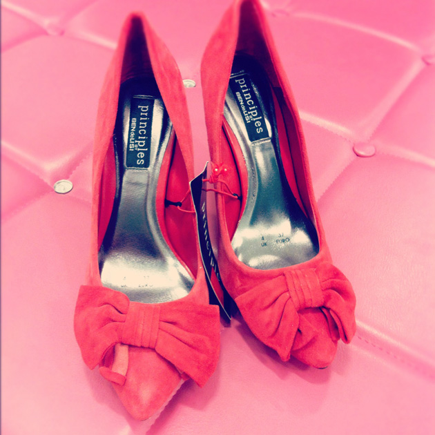 Red suede bow toed court shoes from Principles by Ben de Lisi