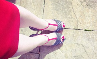 Schuh Betsey polka dot t-bar shoes