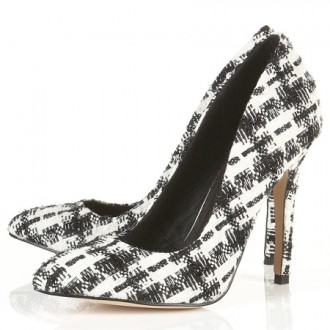 Topshop tweed pointed court shoes
