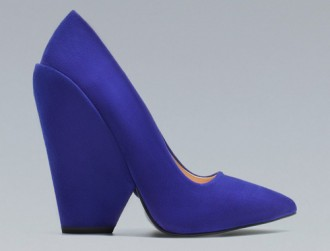Zara blue wedge court shoes