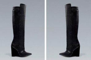 Zara black wedge knee boots