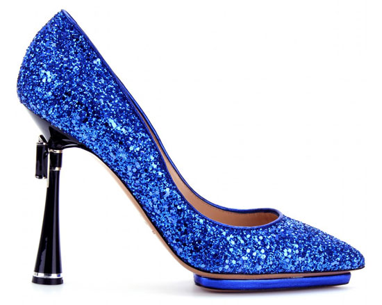 Nicholas Kirkwood blue glitter pumps with bow trimmed heels