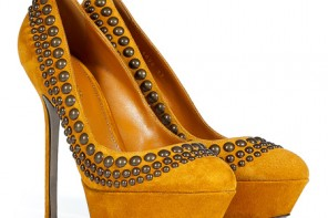 Sergio Rossi Corn Studded Suede Pumps