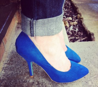 blue zara pumps
