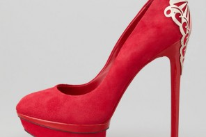 B Brian Atwood red suede Fashina platform pumps