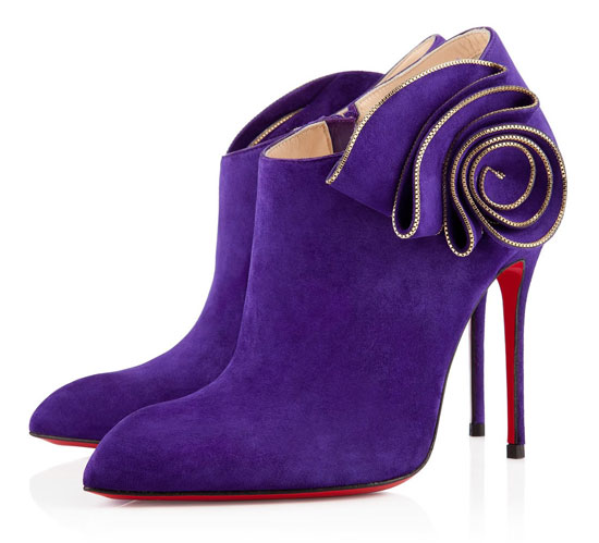 Christian Louboutin Mrs Baba 100mm purple suede shoe boots