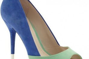 BCBGeneration green and blue 'Izzie' peep toe pumps