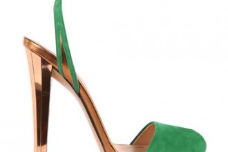 Gucci 'Dephine' green and gold high heel sandals