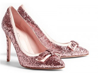 Red Valentino pink glitter bow front pumps