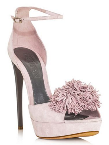 Alexander McQueen pink pom pom high-heel shoes