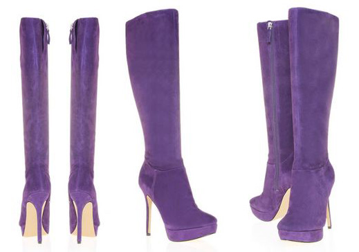 purple suede knee boots