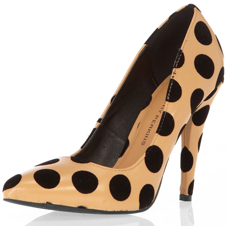 beige polka dot court shoes