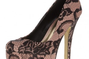 black and pink lace court shoes