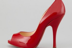 Christian Louboutin 'Maryl' red patent peep toes