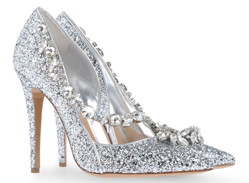 DSqaured2 silver rhinestone high heeled pumps > Shoeperwoman