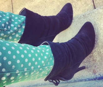 green polka dot jeans