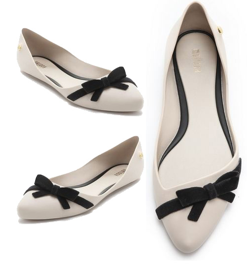 melissa bow flats Melissa black and white PVC bow flats