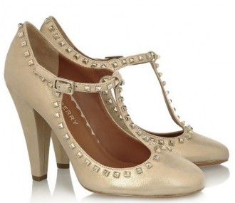 Mulberry Metallic brushed-leather T-bar pumps