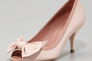 RED Valentino pink peep toe bow pumps