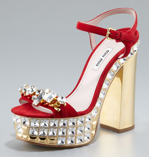 Miu Miu Jeweled Suede Platform Sandals