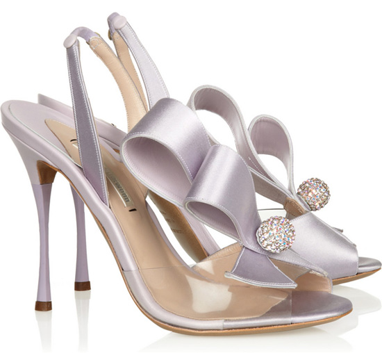 Nicholas Kirkwood Crystal-embellished PVC and satin slingbacks
