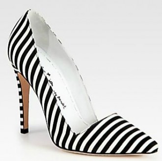 Alice + Olivia Striped Canvas Pumps