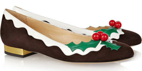 Charlotte Olympia Holly suede and patent-leather flats