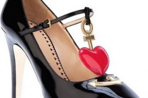 Moschino Cheap & Chic heart detail patent pumps