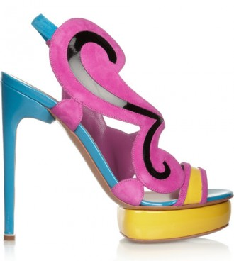 Nicholas Kirkwood color-block suede and patent-leather sandals