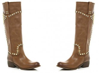 River Island brown studded knee high western boots