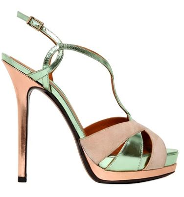 Fendi green and pink metallic strappy sandals