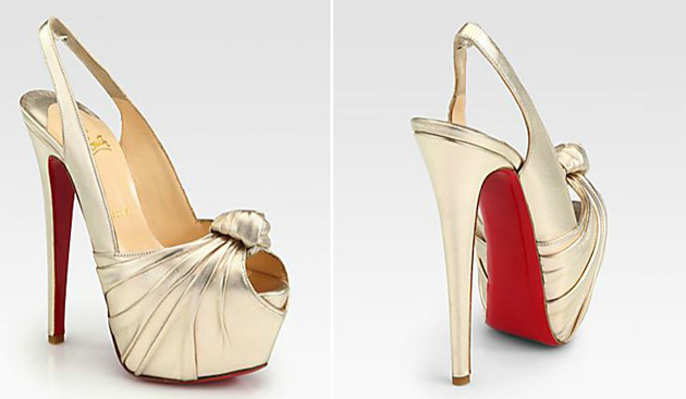 Christian Louboutin Miss Benin Metallic Leather Knot Platform Pumps