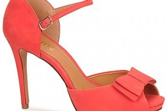 Schutz 'Pramio' coral bow peep toe shoes