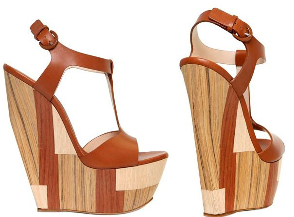 Casadei 160mm wood and leather wedge sandals