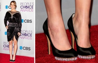 Jennifer Lawrence in Nicholas Kirkwood satin pumps