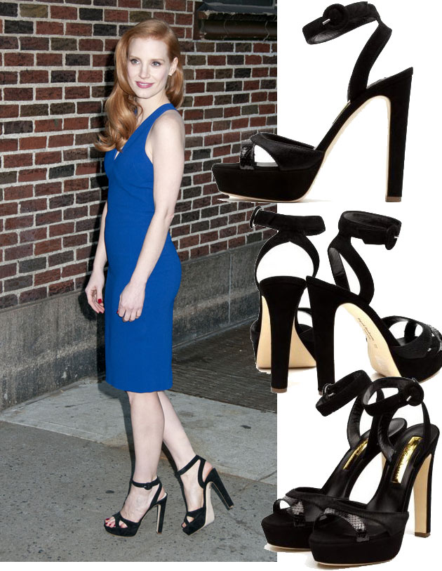 Jessica Chastain in Rupert Sanderson sandals