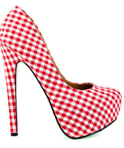 red gingham shoes
