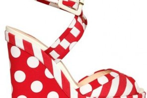 red polka dot wedges